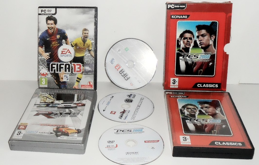 FIFA 13 + PES 2008 + RACE +THE WTCC GAME, 3 GRY PC