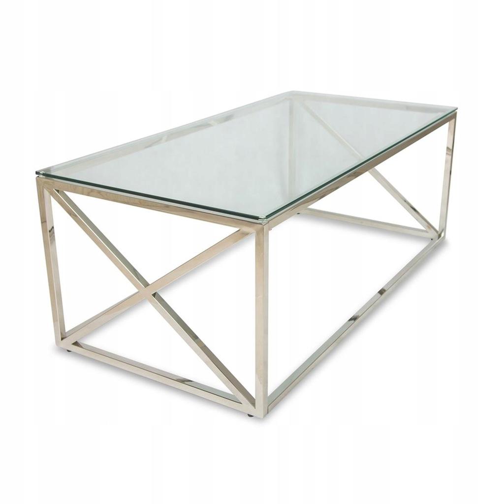 Srebrny metalowy stolik kawowy konferencyjny biuro
