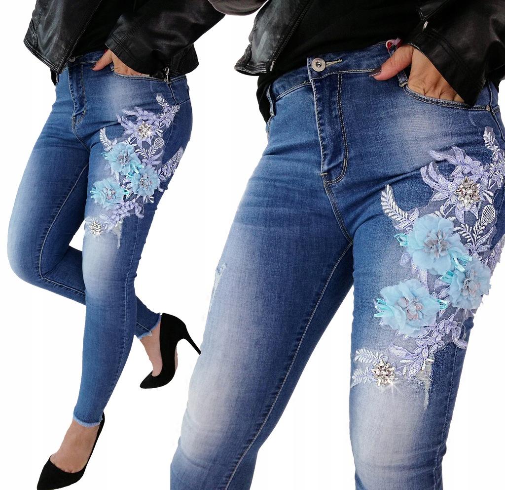 spodnie jeansowe w kwiaty 3d allegro