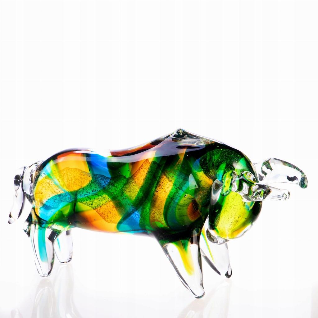 Dekoracyjna Figurka Byk ze Szkła Kolorowa