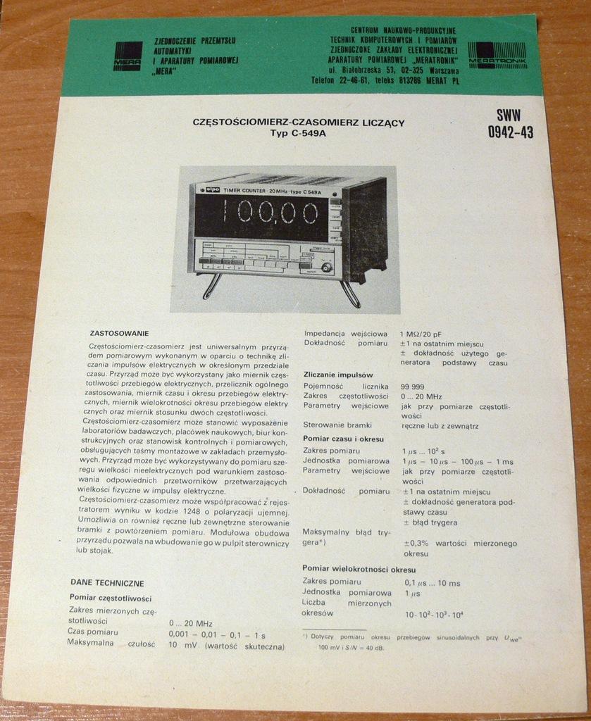 FOLDER CZĘSTOŚCIOMIERZ C549 MERATRONIK