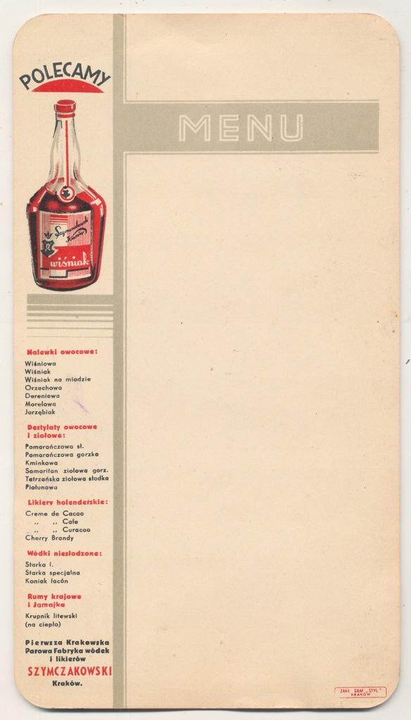 Karta menu Fabryka Wódek Kraków 30-te. (798)