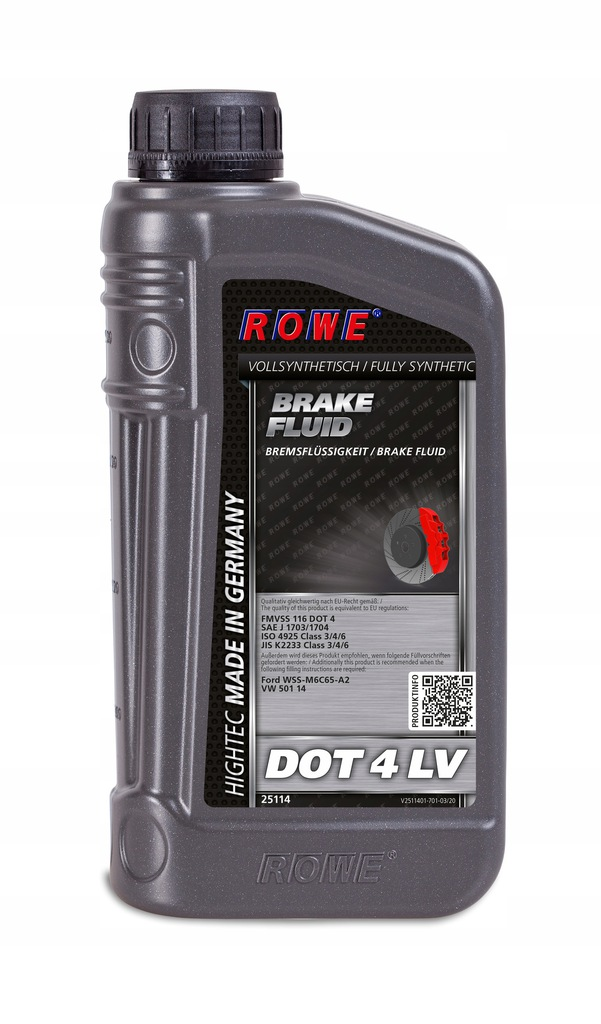 ROWE HIGHTEC BRAKE FLUID DOT 4 LV 1L ISO 4925