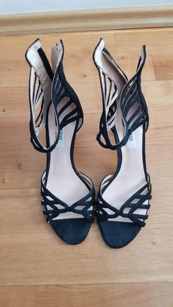 GUESS - szpilki sandaly czarny skora zamsz R 35