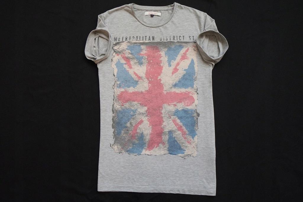 JACK JONES koszulka szara t-shirt nadruk ANGLIA__S