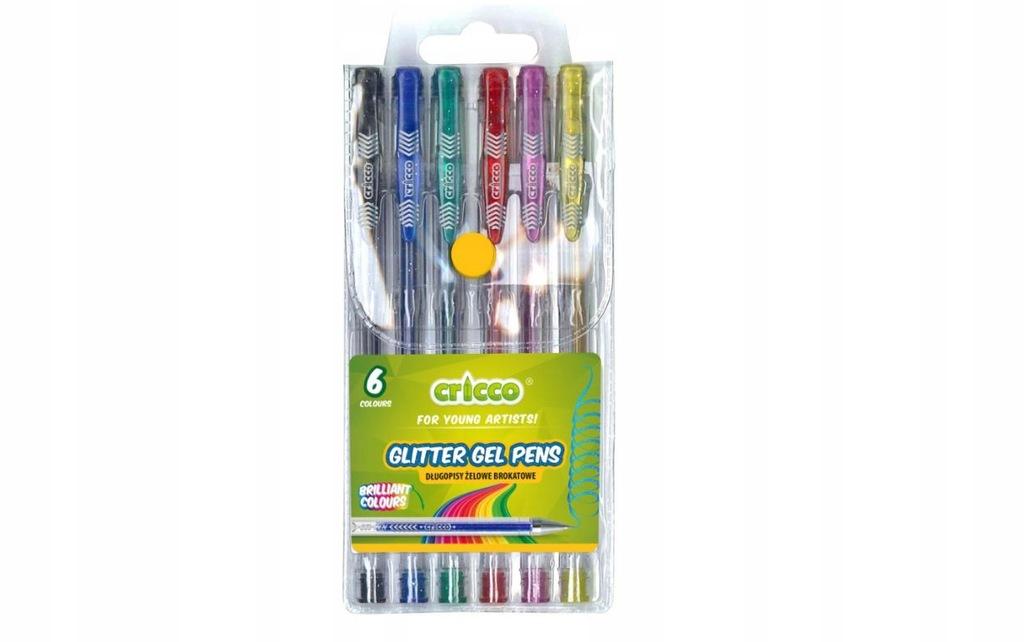Długopisy żelowe brokatowe 6 kolorów CRICCO Cricc
