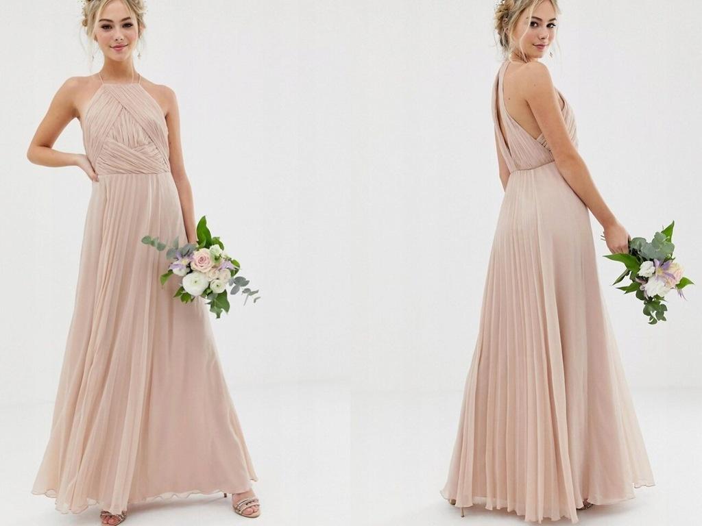 DESIGN - Plisowana Długa Sukienka S/36