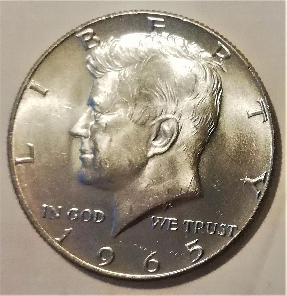 USA 1/2 DOLARA 1965 KENNEDY HALF Dollar srebro 400