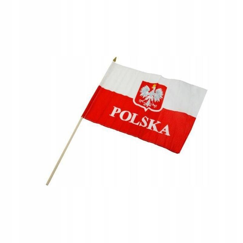 Flaga z drewnianym uchwytem POLSKA 30x40 cm
