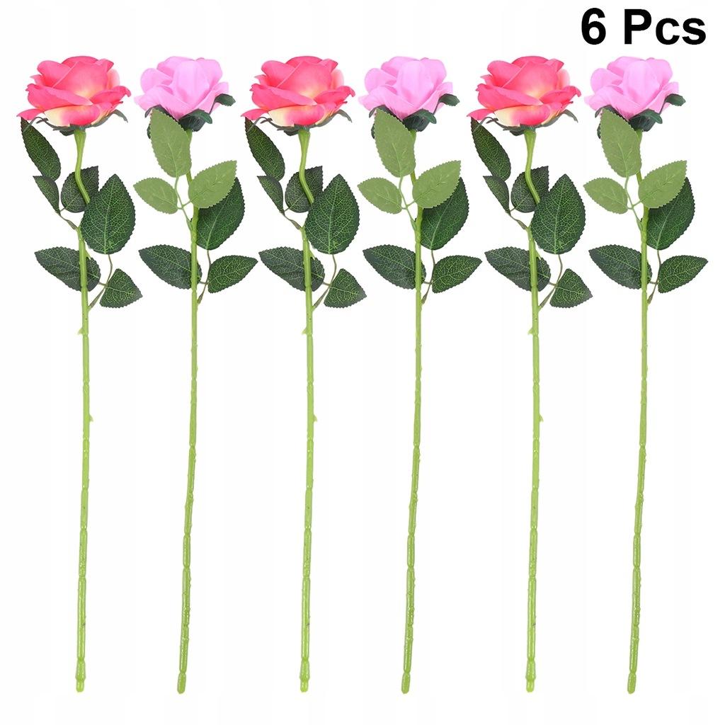 6 sztuk Bukiet Sztucznych Róż Symulacja Róż Kwiaty