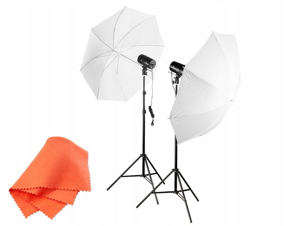 Zestaw oświetleniowy 2x100 Ws studio, parasolki