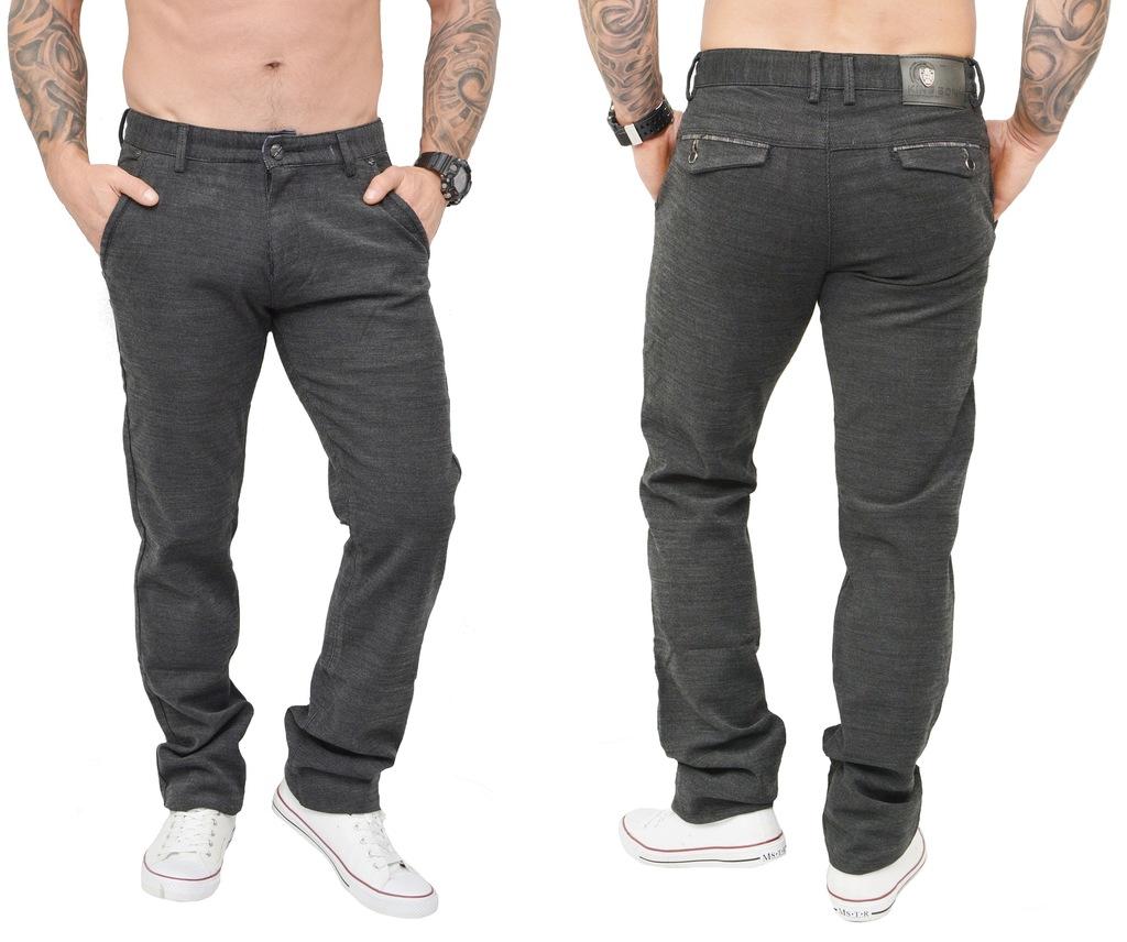 QD265 SZARE proste męskie spodnie CHINOSY jeans 38