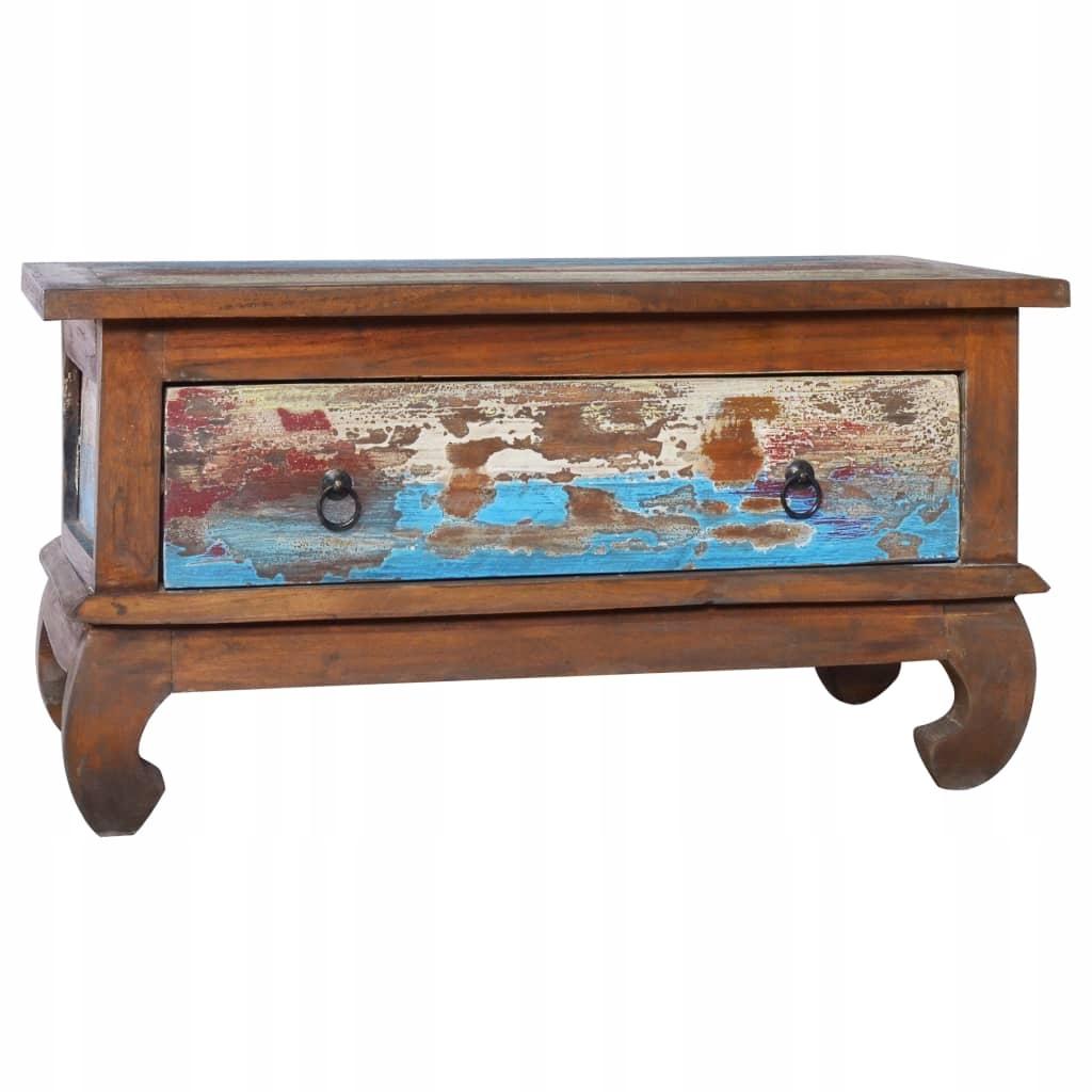 Stolik kawowy, 80x50x40 cm, drewno tekowe z odzysk