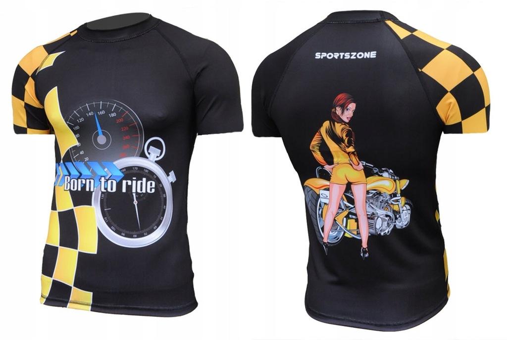 Koszulka z nadrukiem, motocykl, prędkość. Sportowa