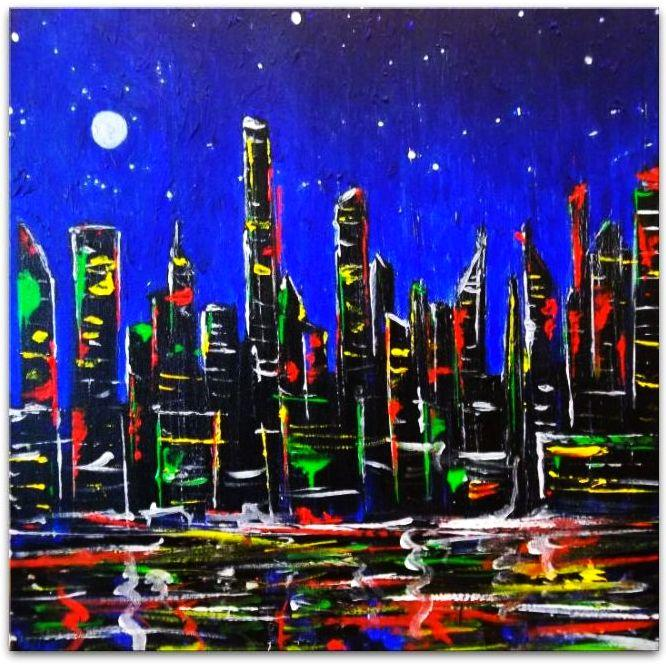 NEW YORK NIGHT - OBRAZ OLEJNY . NY NIGHT !!! WARTO