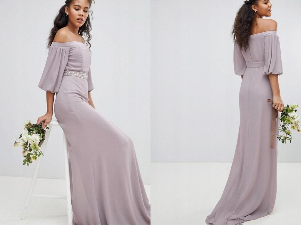 TFNC Tall Bardot Szara Długa Sukienka XL/42