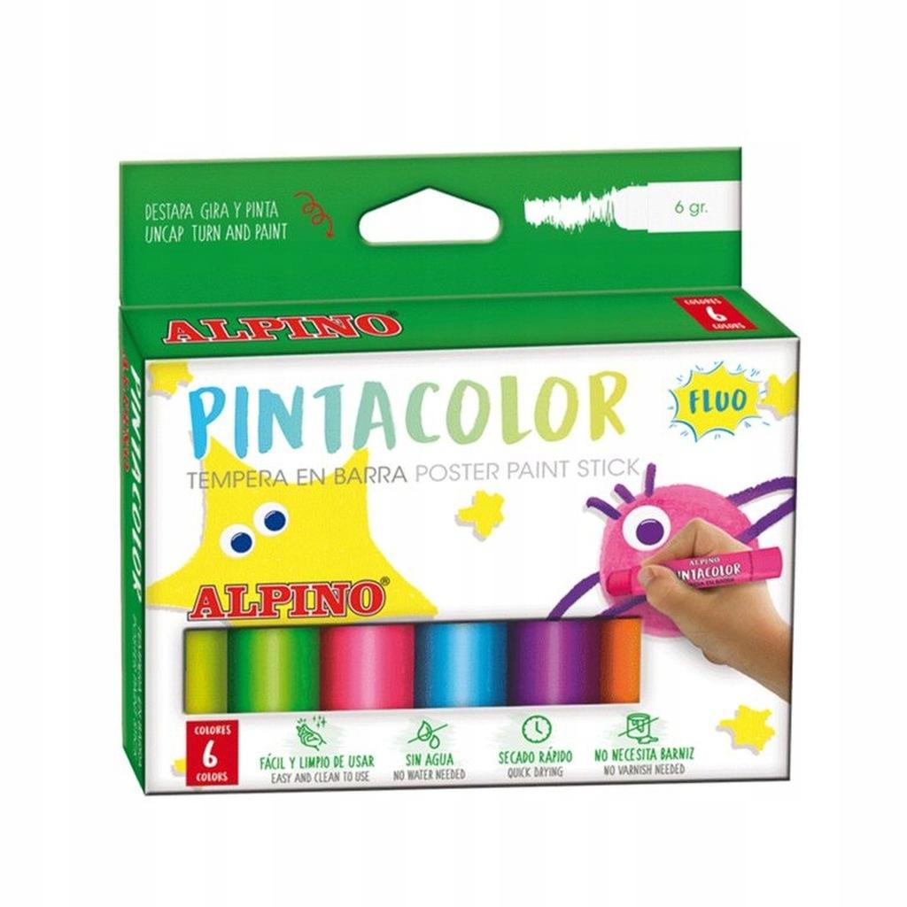 ALPINO Farby w sztyfcie fluorescencyjne 6 kolorów