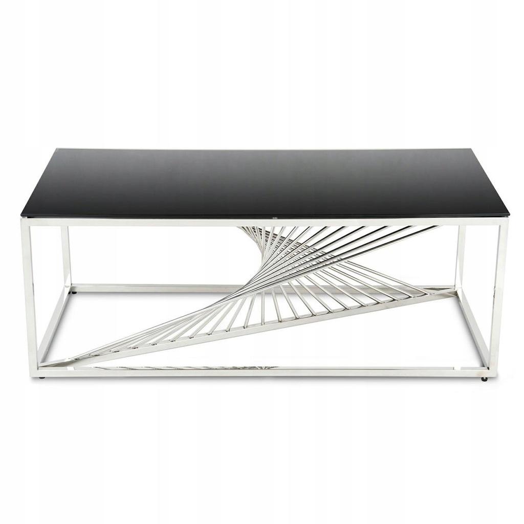 Nowoczesny stolik do salonu ze srebrnymi nogami