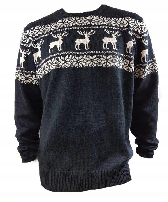 227 ciepły zimowy SWETER deer NAVY XL