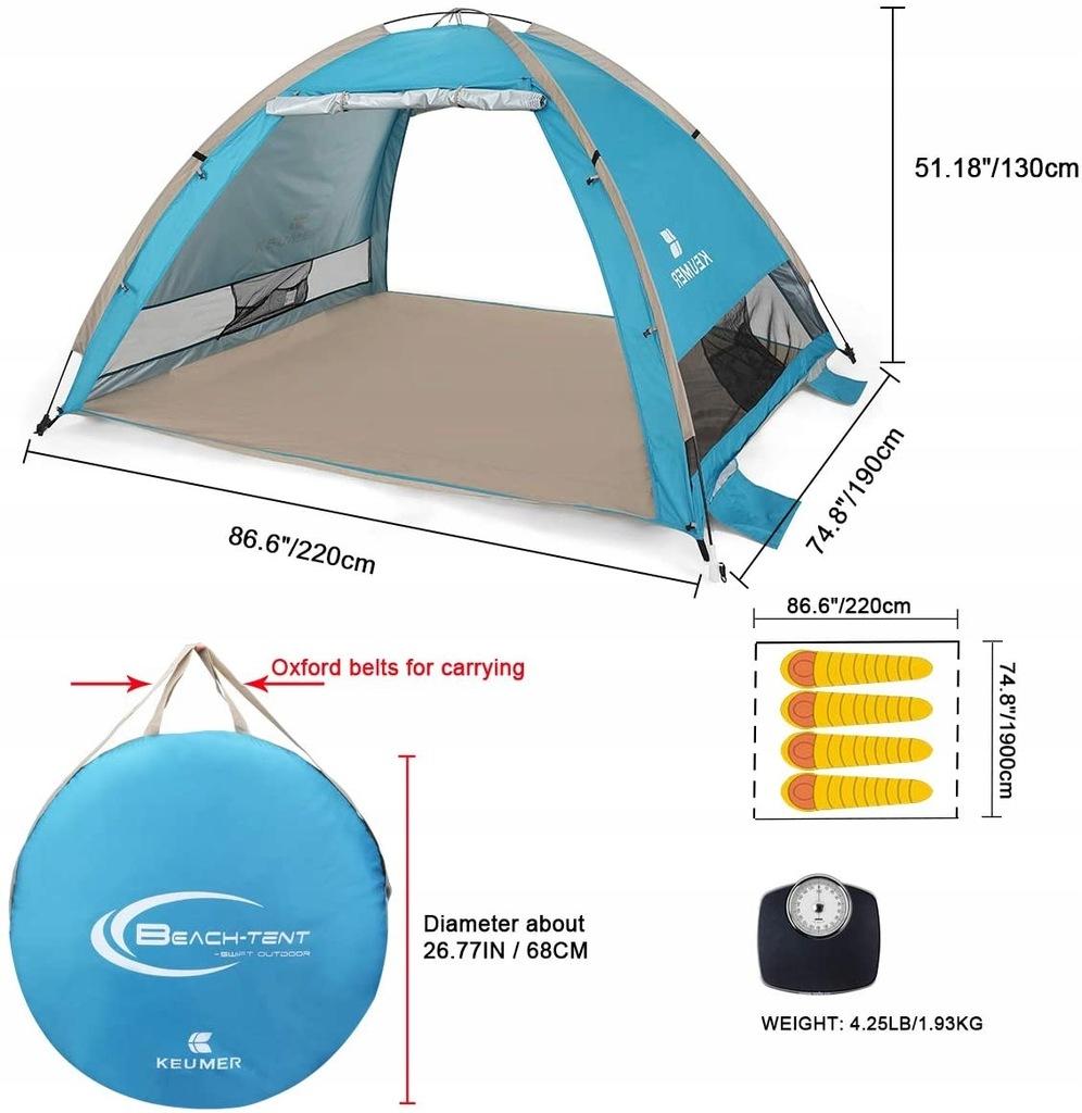Namiot plażowy pop up 3-4 os 220x190x130cm automat