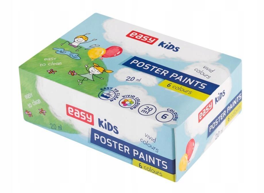 Farbki plakatowe 6 kolorów plakatówki intensywne