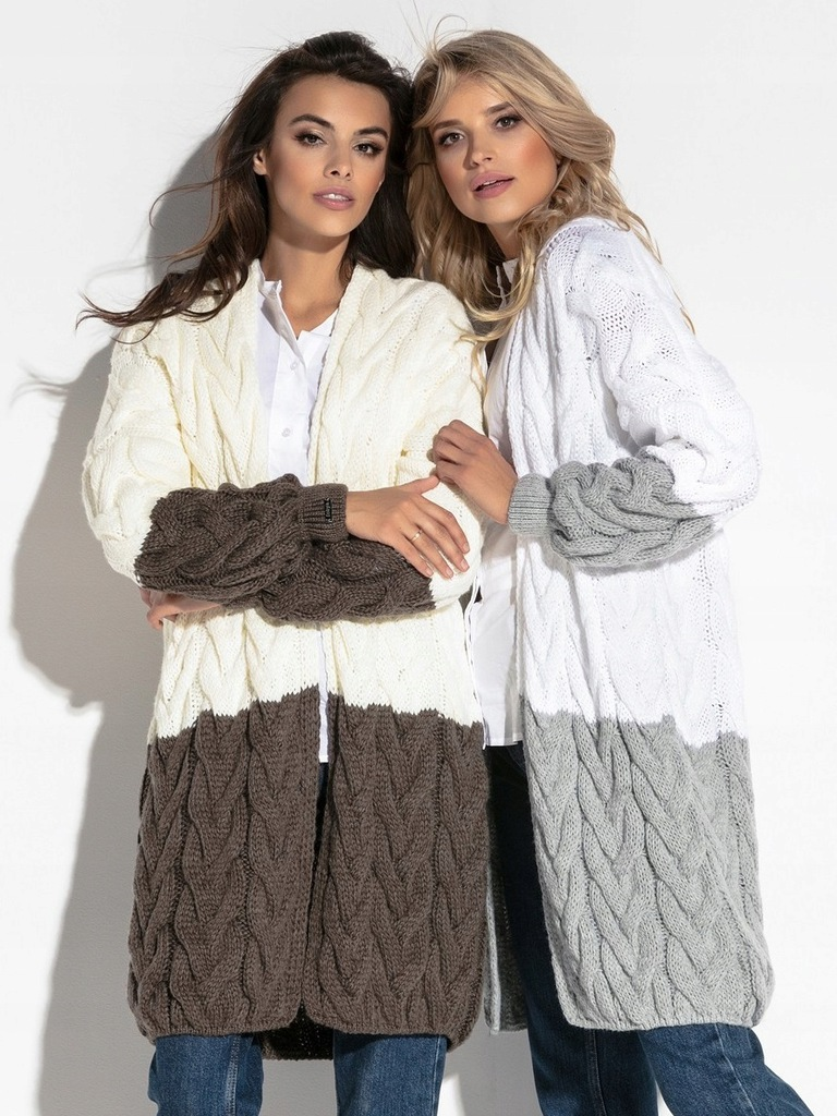 Sweter Długi CIEPŁY Kardigan PIĘKNY Szary L/XL
