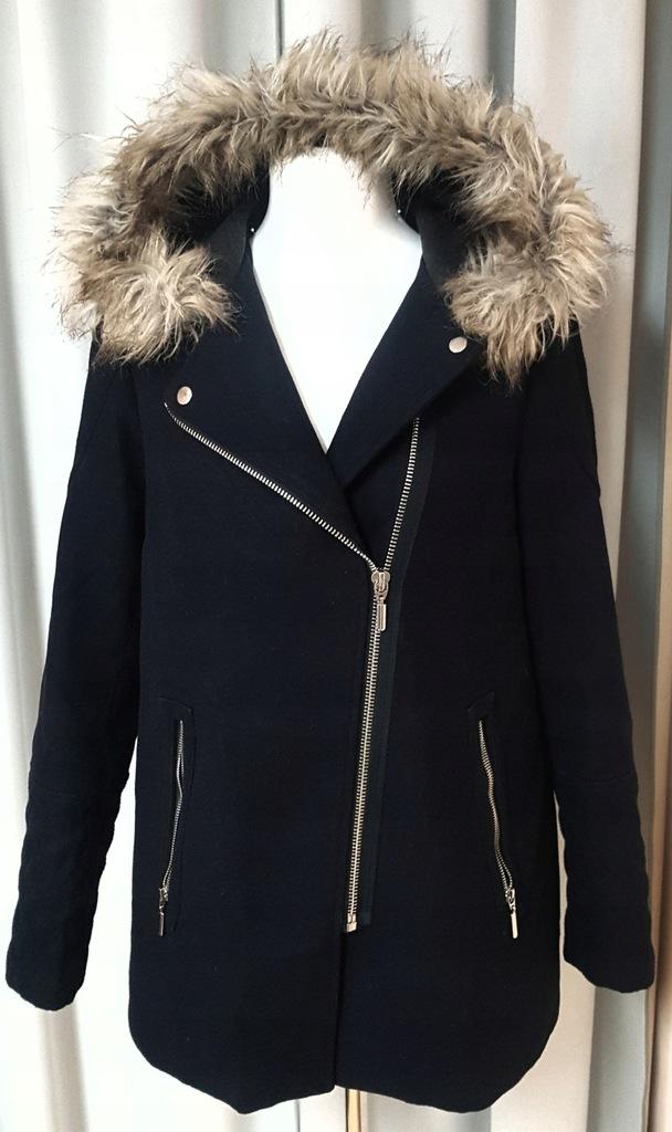 Płaszcz NEW LOOK 42 XL modny czarny futro kaptur