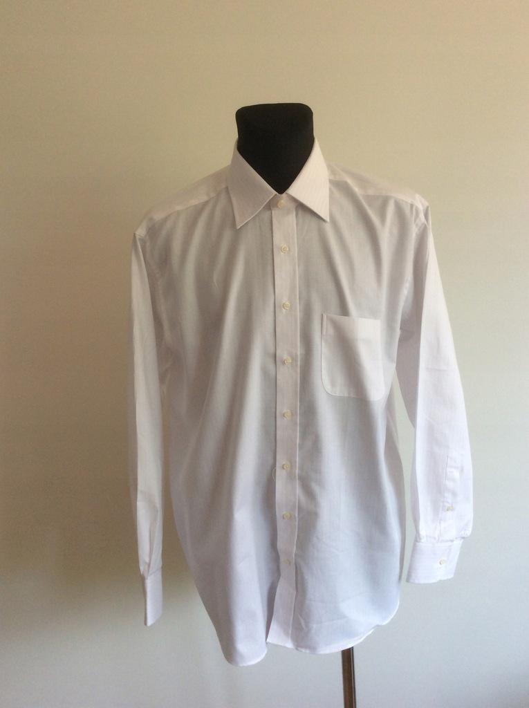 Hemlock Biała koszula z subtelnym prążkiem 43