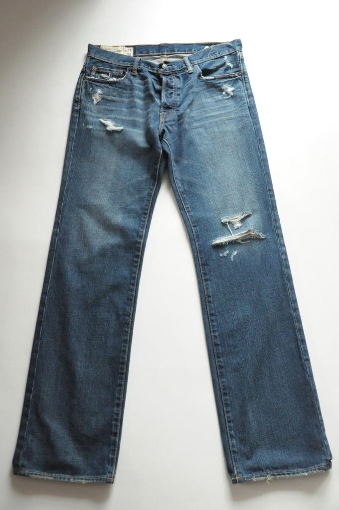 ABERCROMBIE&FITCH granatowe jeansowe W 34 L 34