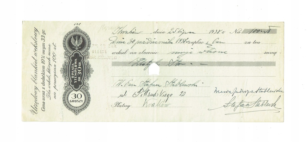 Weksel 15 Bank Zw. Sp. Zar. Kraków 1938