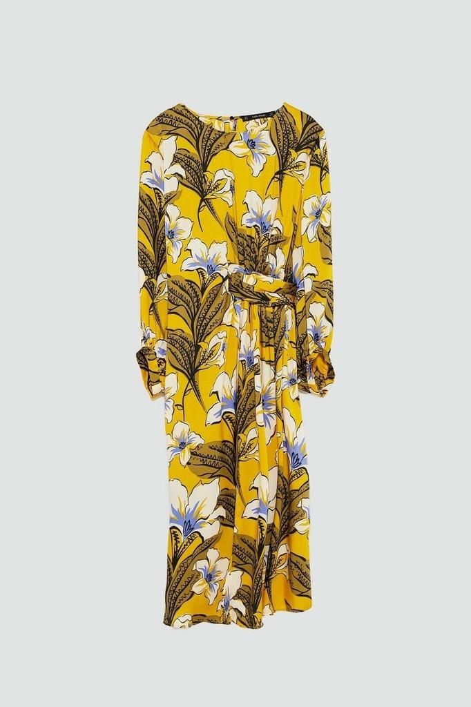 sukienka zara musztardowa w kaiwty