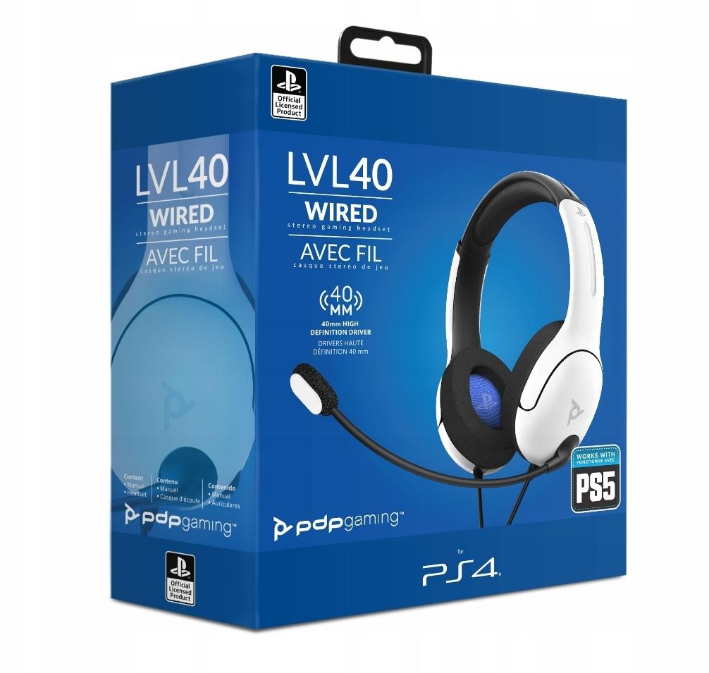 PDP PS5/PS4 Słuchawki przewodowe LVL40 - białe