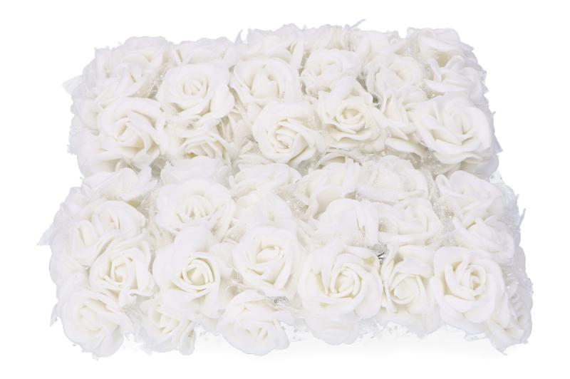 Kwiatki piankowe róże różyczki tiul biały 72szt