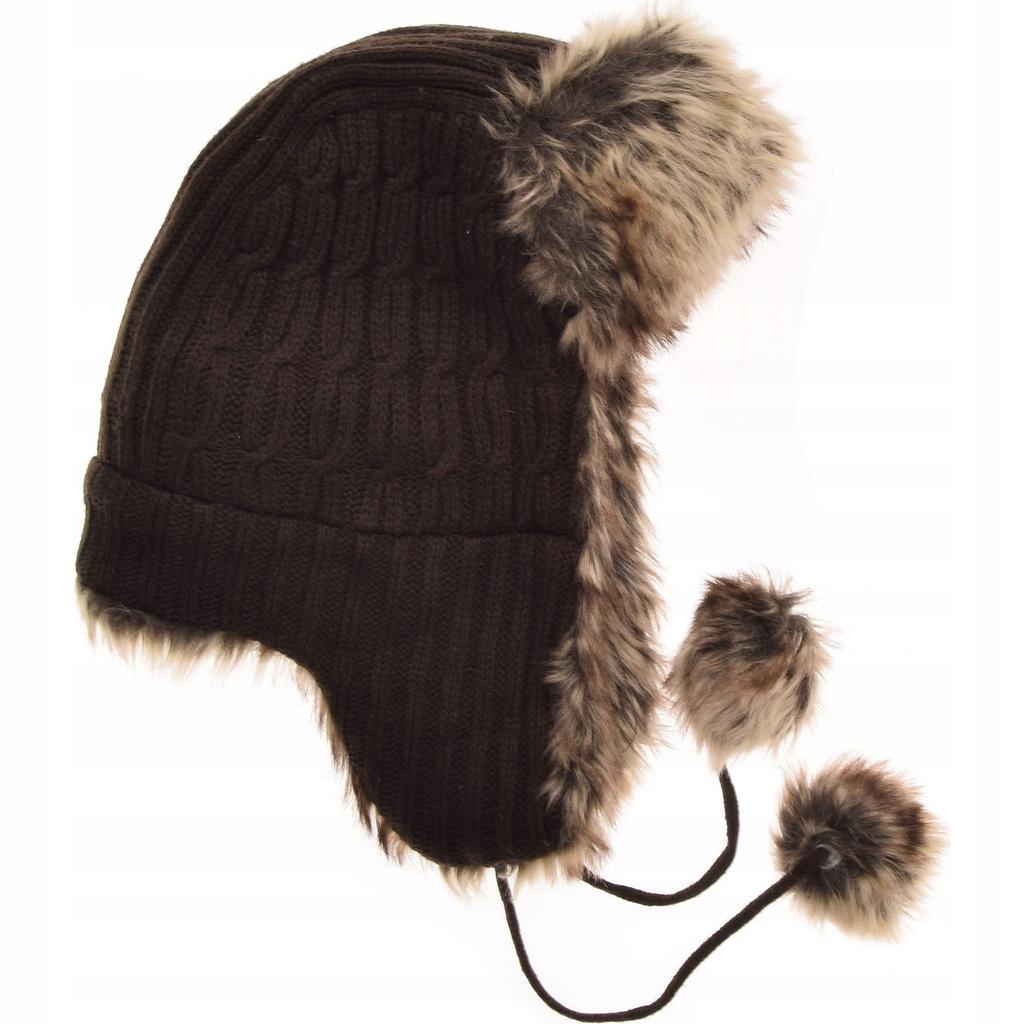 ATMOSPHERE czapka uszatka z futerkiem CIEPŁA 55-57