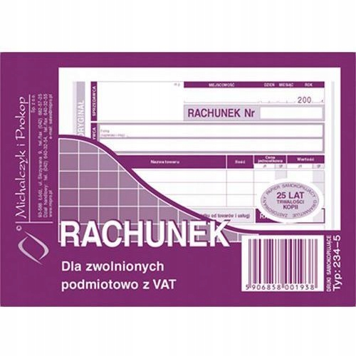 Druk Rachunek zwolniony z VAT A6-poz.O/K 80k.MiP
