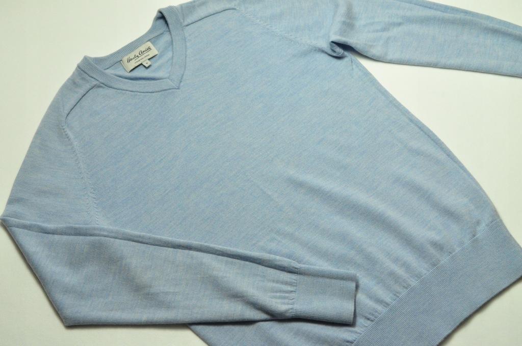 ATT męski sweter Hardy Amies niebieski serek r. M