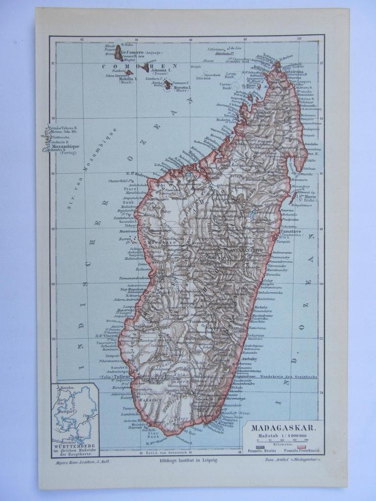 AFRYKA WYSPA MADAGASKAR mapa 1897 r.