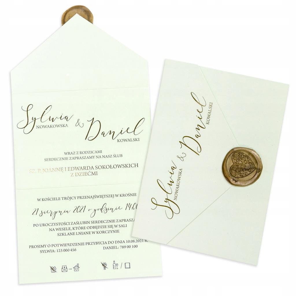 Zaproszenie ślubne na ślub 2w1 Pastel Pistacja lak
