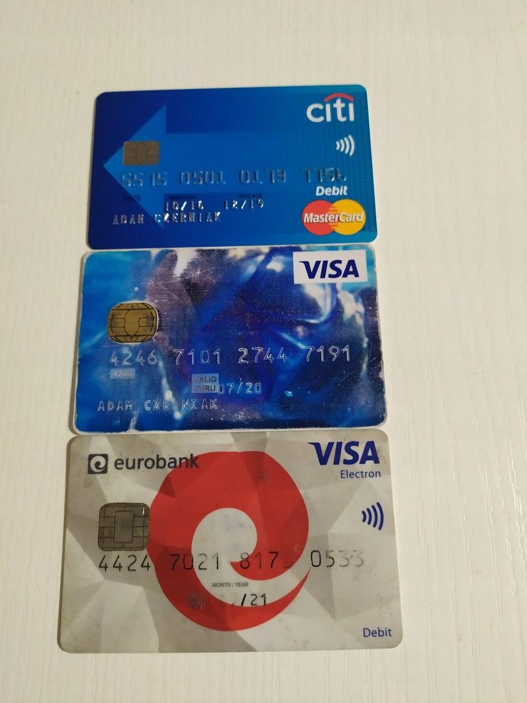 3 karty DLA KOLEKCJONERA Visa,Master Card