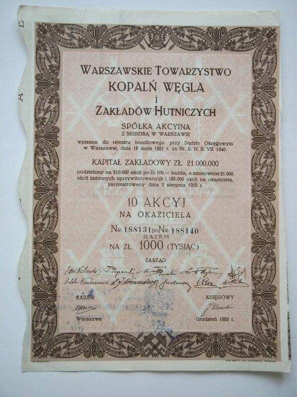 WTKWiZH SA 1000 ZŁ -1929 R