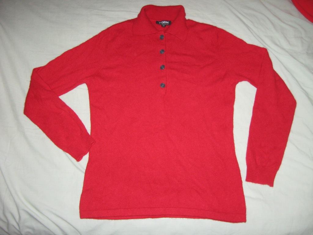 YORN piękny sweterek 100%KASZMIR S/M 36/38 RED