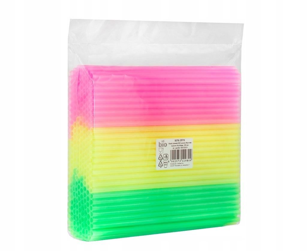 Słomki BIO proste fluor mix kolorów 250 sztuk