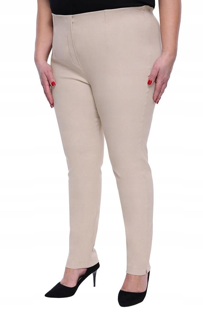 Beżowe zwężane spodnie cygaretki z bengaliny 56