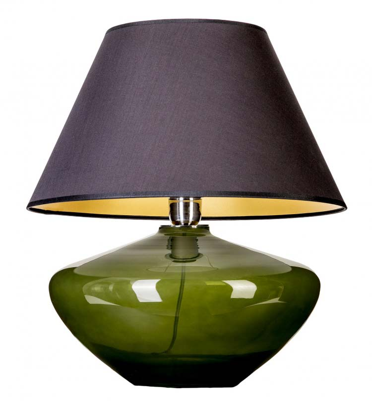 Lampa stołowa szlana zielona z czarnym abazurem
