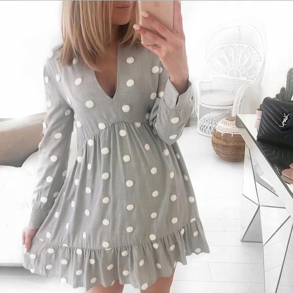 Zara sukienka w kontrastowe kropki 38 M
