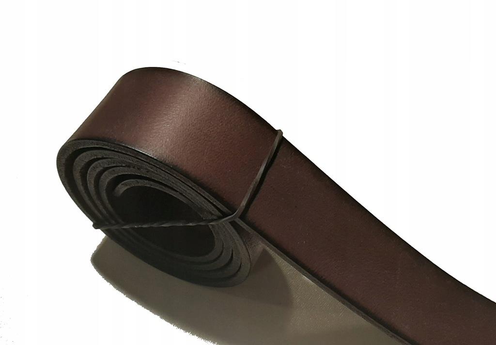 Pas skórzany ciemny brąz półprodukt 3 mm 4x130 cm