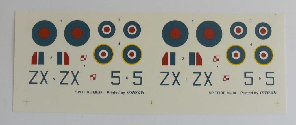 Kalkomania SPITFIRE Mk.IX INTECH 1/72