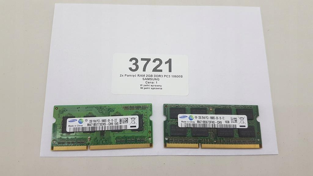 2x Pamięć RAM 2GB DDR3 PC3 10600S SAMSUNG (3721)