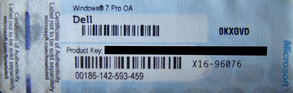 Windows 7 Pro Sticker Kod