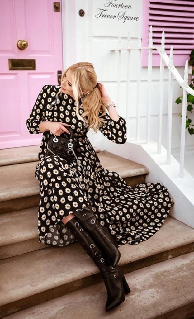 zara czarna sukienka w kwiaty z falbankami